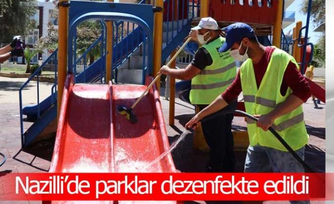 Nazilli'de parklar dezenfekte edildi
