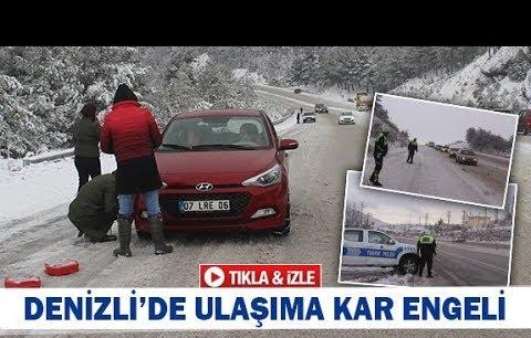 Denizli'de ulaşıma kar engeli