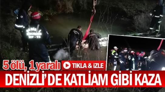 DENİZLİ'DE KATLİAM GİBİ KAZA 5 ÖLÜ, 1 YARALI