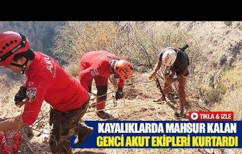 Kayalıklarda mahsur kalan genci akut ekipleri kurtardı