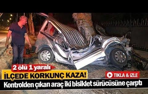 Kontrolden çıkan araç iki bisiklet sürücüsüne çarptı