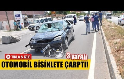 Otomobil bisiklete çarptı!